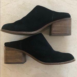 Tom's black suede mules